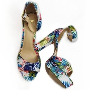 It's Tropical Floral Open Toe Ankle Strap Heels 10
